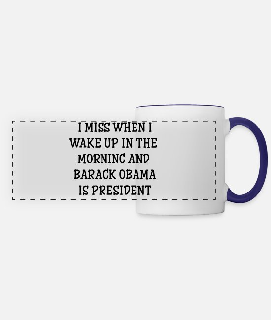 Barack Obama Mugs & Cups - Barack Obama is president - Panoramic Mug white/cobalt blue