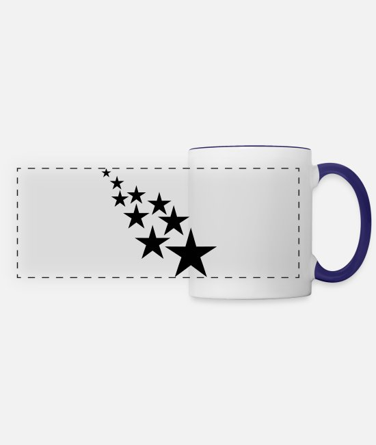 Sters Mugs & Cups - star - Panoramic Mug white/cobalt blue