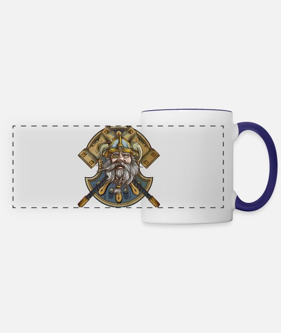 Thor Mugs & Cups - Viking - Panoramic Mug white/cobalt blue