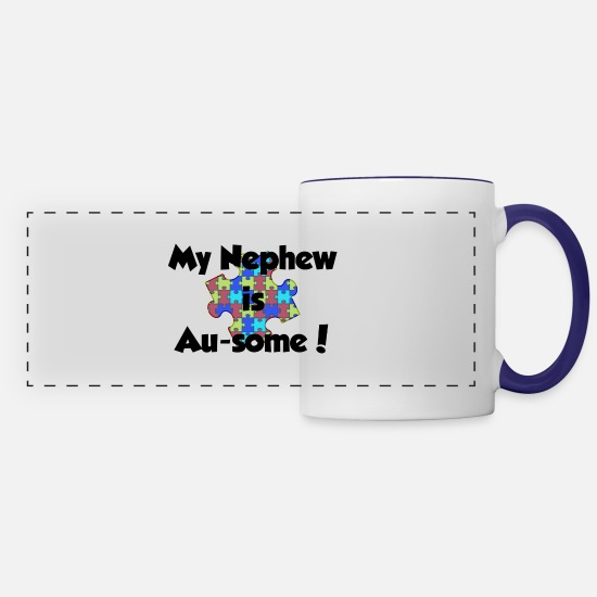 Niece Mugs & Drinkware - my-nephew-ausome - Panoramic Mug white/cobalt blue
