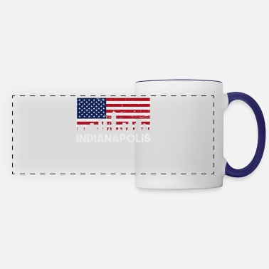 Retro Indianapolis IN American Flag Skyline Distressed - Panoramic Mug
