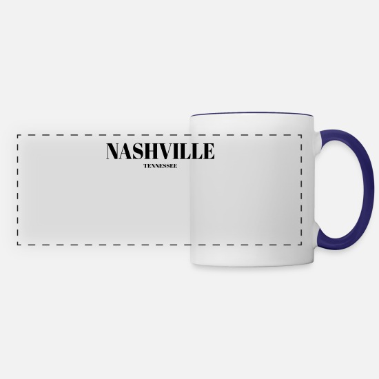 Nashville Mugs & Drinkware - TENNESSEE NASHVILLE US DESIGNER EDITION - Panoramic Mug white/cobalt blue