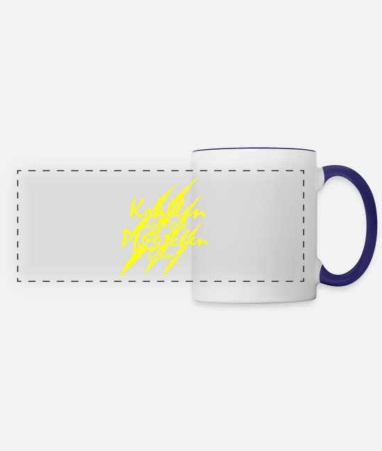 Design Mugs & Cups - GIFT - CLAWS YELLOW - Panoramic Mug white/cobalt blue