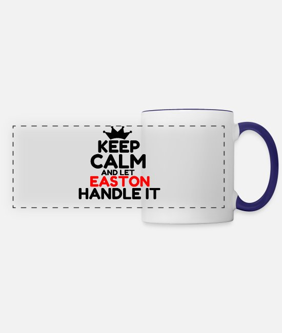 Keep Calm Mugs & Cups - EASTON - Panoramic Mug white/cobalt blue