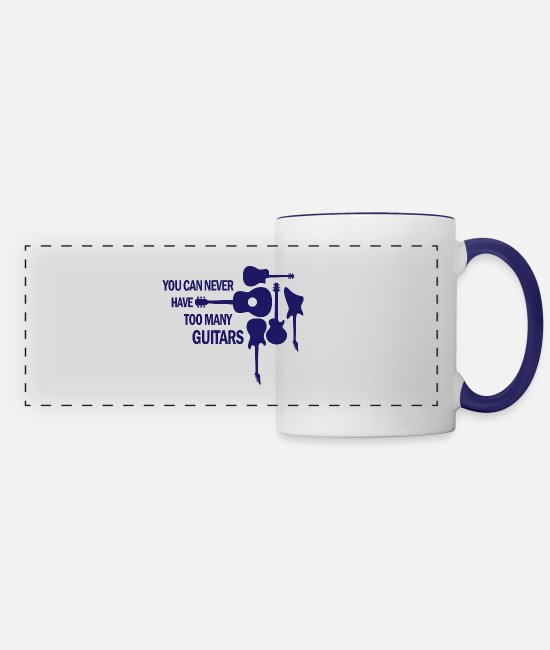 Guitar Mugs & Cups - You can never have too many guitars rock gift - Panoramic Mug white/cobalt blue