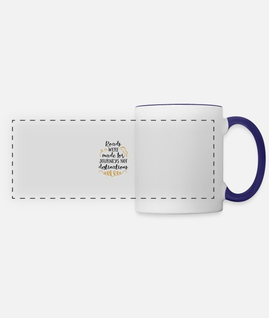 Hay Mugs & Cups - Roads were made for Journeys not destination - Panoramic Mug white/cobalt blue
