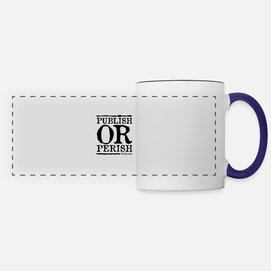 Wikileaks Mugs & Drinkware - Publish or Perish - WikiLeaks - Panoramic Mug white/cobalt blue