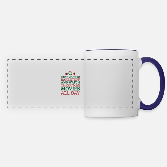 Christmas Mugs & Drinkware - I just want to bake stuff shirt - Panoramic Mug white/cobalt blue