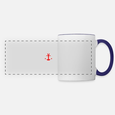 Red Sailed Boat Anchor red - I love sailing and the sea - Panoramic Mug