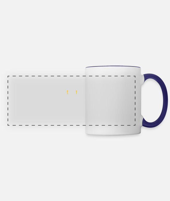 BBQ Mugs & Cups - I Grill Drink Beer BBQ Drinking Beer - Panoramic Mug white/cobalt blue