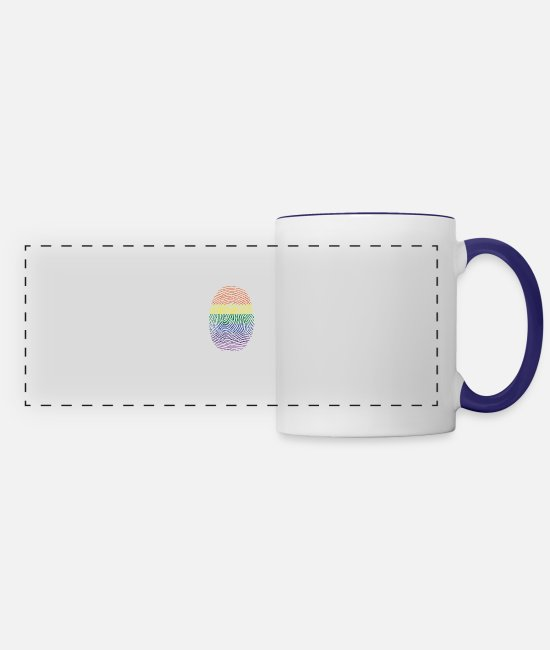 Gay Pride Mugs & Drinkware - gay parade rainbow finger - Panoramic Mug white/cobalt blue