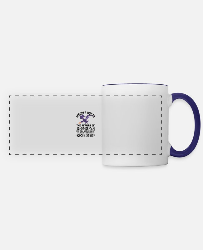 Affair Mugs & Cups - Funny Fantasy Nerd Meddle Not In The Affairs Of Dr - Panoramic Mug white/cobalt blue