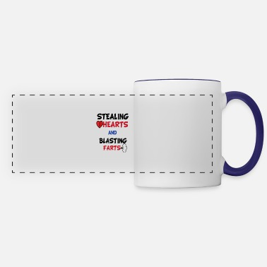 Funny Valentines Day Stealing Hearts And Blasting - Panoramic Mug