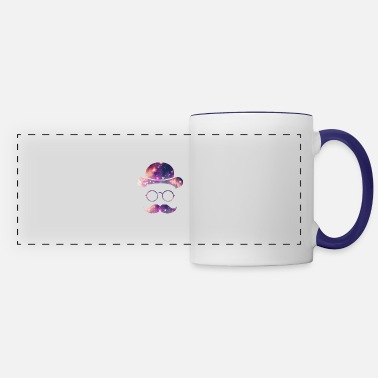 Mustache Retro Face with Moustache & Glasses / Universe - Panoramic Mug
