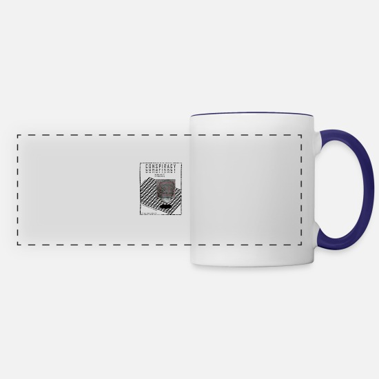 Illuminati Mugs & Drinkware - CONSPIRACY POSTER - Panoramic Mug white/cobalt blue