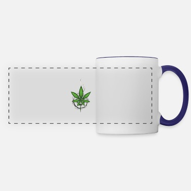 Flora ganja leaf with swirling smoke - Panoramic Mug