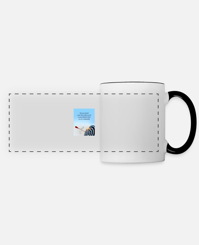 Arrow Mugs & Cups - success comes what you do consistently - Panoramic Mug white/black