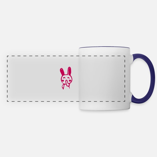 Funny Comic Animals Bunny Design For Awesome Funny Mugs & Drinkware - ❤ټLittle Shy Giggling Bunny-Funny Cute Bunnyټ❤ - Panoramic Mug white/cobalt blue