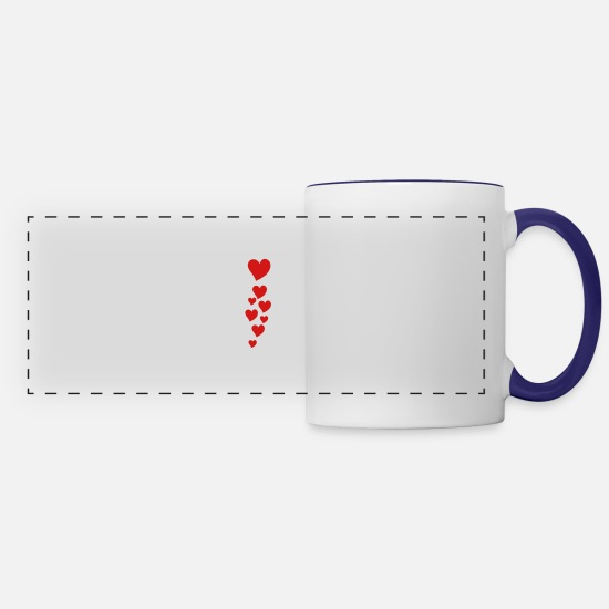 Animo Mugs & Drinkware - hearts - Panoramic Mug white/cobalt blue
