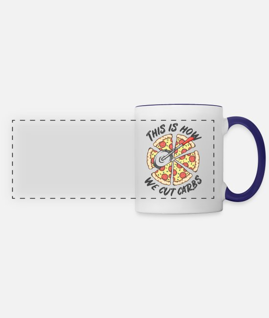 How I Cut Carbs Mugs & Cups - Cut Carbs Pizza Funny Low Carb Ketogenic Diet - Panoramic Mug white/cobalt blue
