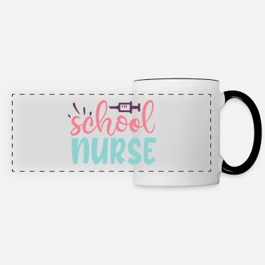 Pink School Nurse Pink Blue Women's Typography - Panoramic Mug