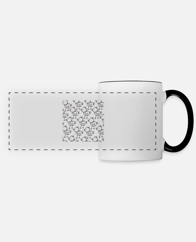 Beak Mugs & Cups - Chick Cicken Fledgling - Panoramic Mug white/black