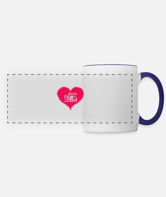 Heart Mugs & Cups - U Are Stellar Heart - Panoramic Mug white/cobalt blue