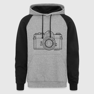 Asahi Pentax Vintage SLR Camera Line Art (Black) - Colorblock Hoodie