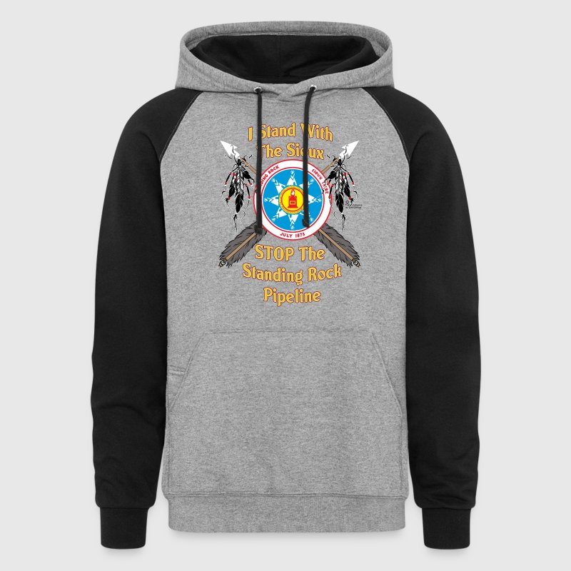 Standing Rock Sioux Shield & Crossed Arrows - Colorblock Hoodie