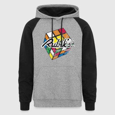 Rubik's Cube Distressed and Faded - Colorblock Hoodie