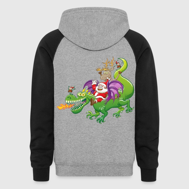 Santa Claus Changed his Reindeer for a Dragon - Colorblock Hoodie
