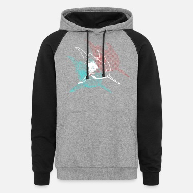 Great White Shark 3D Glasses Shark Designer Graphic - Unisex Colorblock Hoodie
