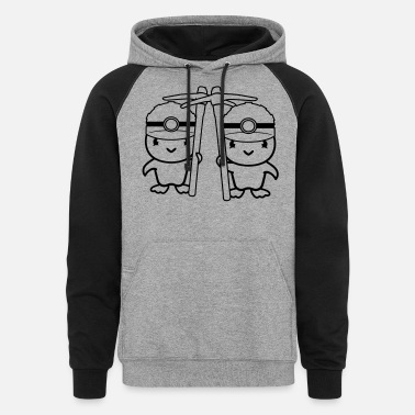Chicken team 2 friends couple colleague bird chick chicken - Unisex Colorblock Hoodie