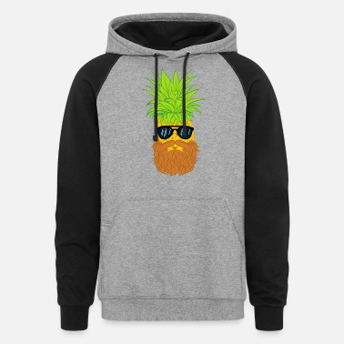 Cool-cute-stylish-mustaches Bearded Fruit Cool Pineapple Graphic Tshirt - Unisex Colorblock Hoodie