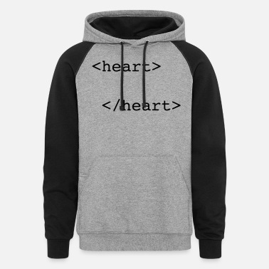 Romantic html heart - Unisex Colorblock Hoodie
