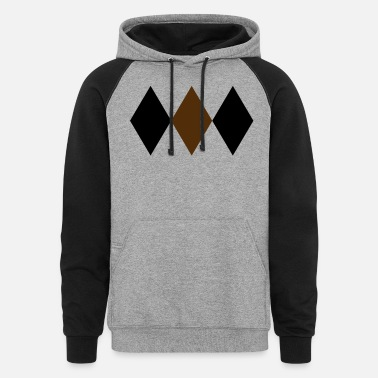 Two Two Tone Harlequin Diamonds 3x1 2 Colors - Unisex Colorblock Hoodie