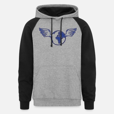 Politics earth with wings - Unisex Colorblock Hoodie