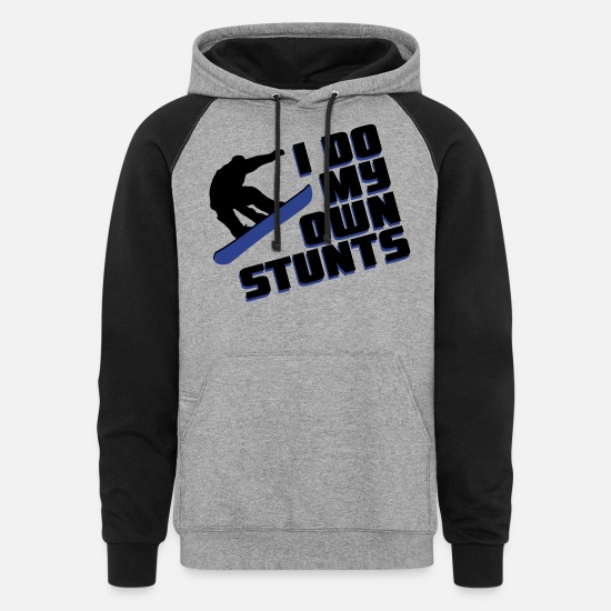 Snowboard Hoodies & Sweatshirts - Snowboard: I do my own stunts - Unisex Colorblock Hoodie heather gray/black
