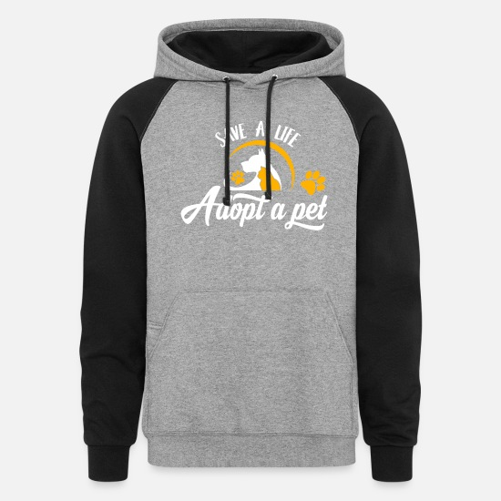 Animal Rescue Hoodies & Sweatshirts - Save Life Adopt A Pet Animal Rescue Dogs Cats Gift - Unisex Colorblock Hoodie heather gray/black