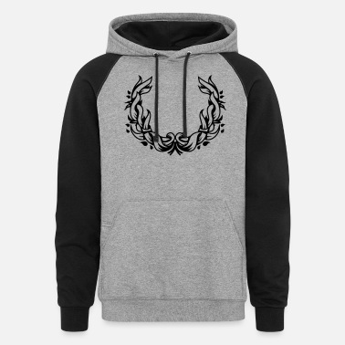 Floral Wreath a floral wreath of leaves - Unisex Colorblock Hoodie