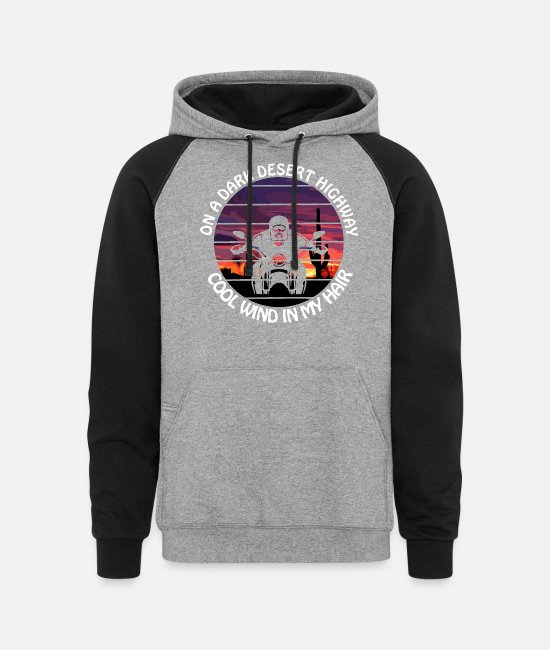 Hotel California Hoodies & Sweatshirts - On a Dark Desert Highway Cool Wind in my Hair - Unisex Colorblock Hoodie heather gray/black