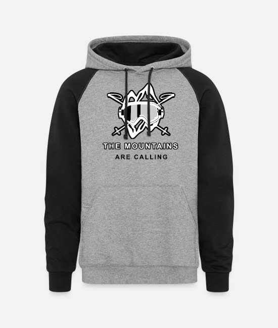 Ski Hoodies & Sweatshirts - Ski saying- the mountains are callling - Unisex Colorblock Hoodie heather gray/black