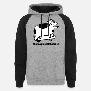 Cow A Cow Wanna Go Skateboards - Unisex Colorblock Hoodie