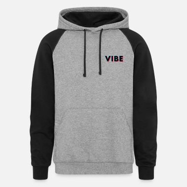 House Vibe Glitch Black Small Logo - Unisex Colorblock Hoodie