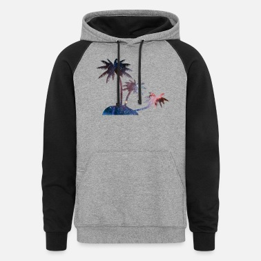 Galaxy Palm Trees - Unisex Colorblock Hoodie