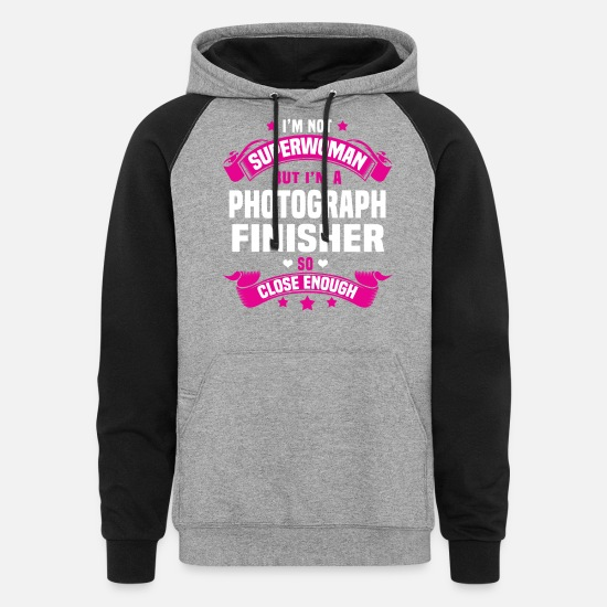 Super Woman Hoodies & Sweatshirts - Photograph Finisher - Unisex Colorblock Hoodie heather gray/black