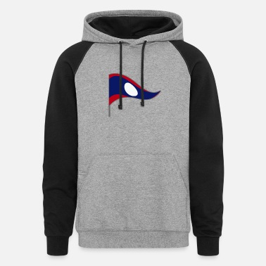 Asia Laos Asia Flag Banner Flags Ensigns - Unisex Colorblock Hoodie