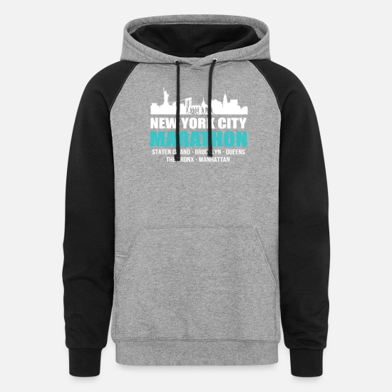 York Hoodies & Sweatshirts - NYC New York City Marathon 2017 Tee Shirt - Unisex Colorblock Hoodie heather gray/black