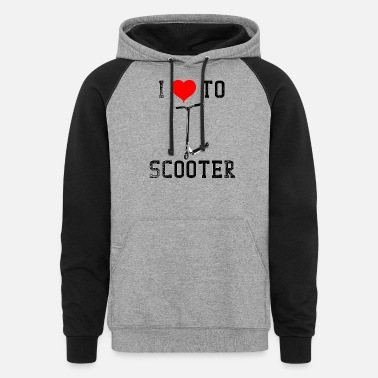 Boy Giraffe Scooters I Love To Scooter - Unisex Colorblock Hoodie