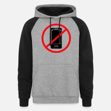 Mobile Vector no mobile phones sign - Unisex Colorblock Hoodie